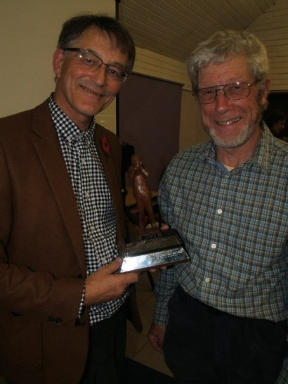 Gordon Hunt presenting the trophy to Paul Hartwright of Worcester Film Makers